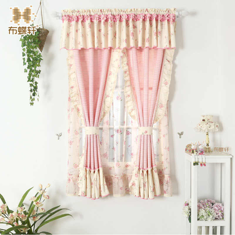 Floral Pink Drape Curtain for Living Room Bedroom Princess Curtains With Flounce Window Treatment Kids Cotton Curtains