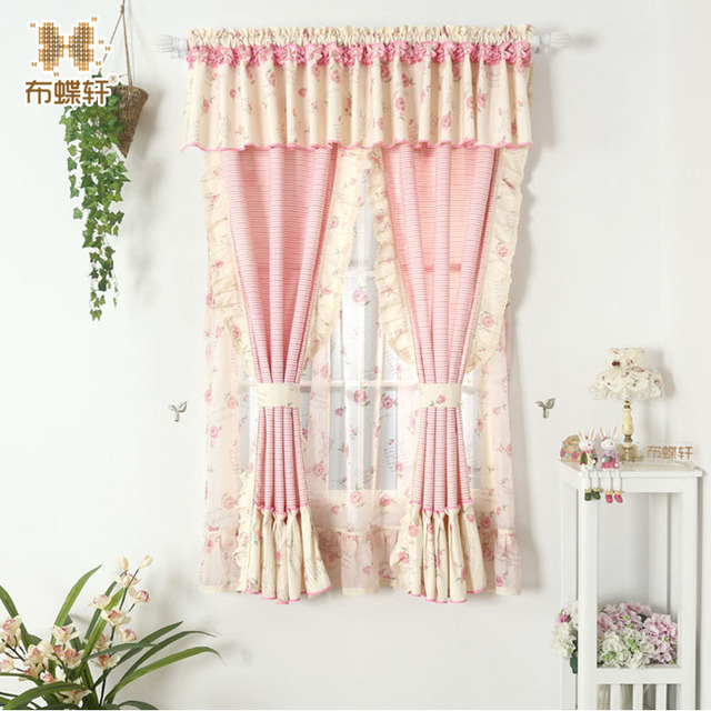 Floral Pink Drape Curtain for Living Room Bedroom Princess Curtains ...