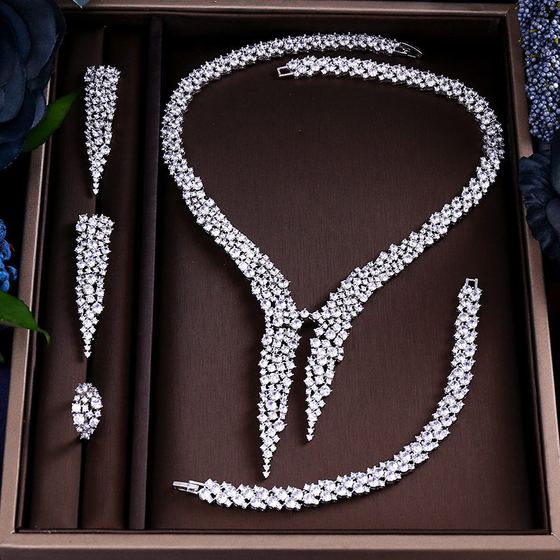 Janekelly Earring Necklace Jewelry-Sets Cubic-Zircon Wedding-Bridal Dinner Brilliant