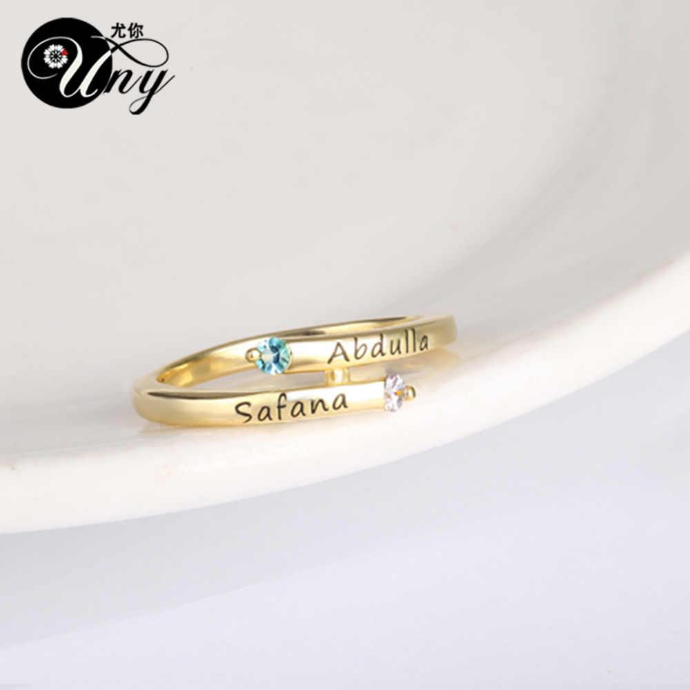 Uny Кольца персонализированные матери кольцо Юбилей подарок пользовательские выгравировать камень кольцо серебро 925 с учетом обещание Для женщин DIY Кольца