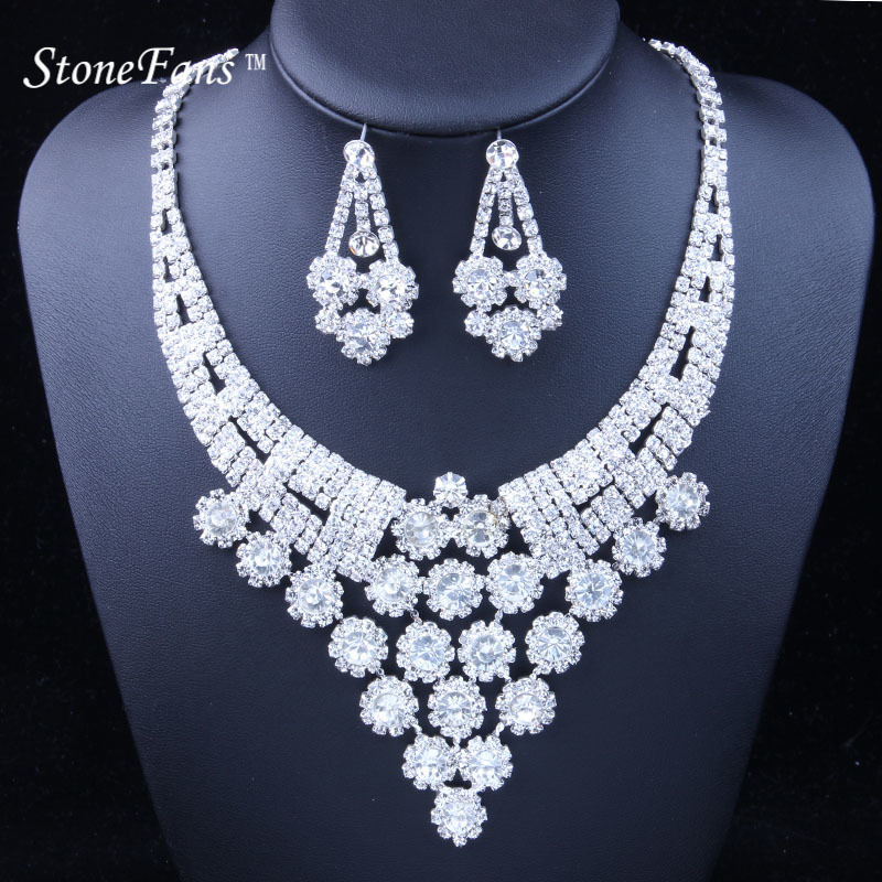 StoneFans Wedding Women Jewelry Sets 2018 Fashion 888 Rhinestone Flower Statement Necklace And Earrings Set Party Accessories