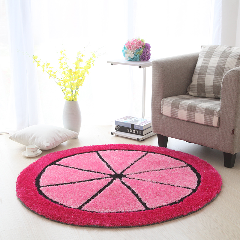 Mode peluche 3D tapis rond tapis chambre d'enfants salon chambre tapis Dressing tapis panier rond pad