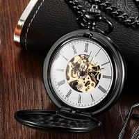 Vintage Smooth Double sided Hand Wind Retro Mechanical Pocket Watch Necklace Engraved Romans Steampunk Fob Watch Men Clock Gifts