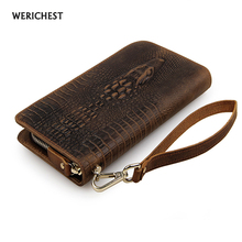 Hot selling brand men genuine leather wallet cowhide crocodile wallets with hand strap clutch purse