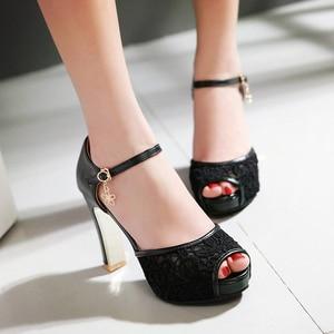 Image 4 - women Summer lace mesh shoes Fish Mouth high heel ladys platform sandals evening dress wedding shoes femal zapatos de mujer 43