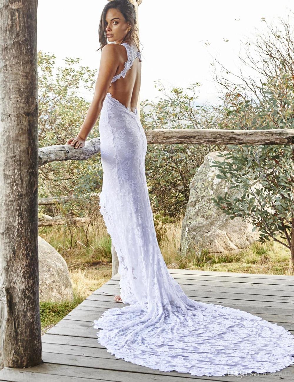 2015 Boho Lace Bohemian Wedding Dresses Front Split Beach Court ...
