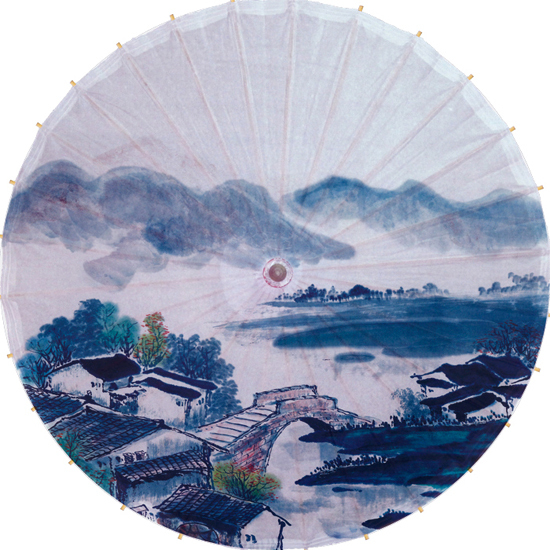 ФОТО Free shipping Chinese traditonal small bridge flowing water painting umbrella rainproof and sunshade oiled paper umbrella
