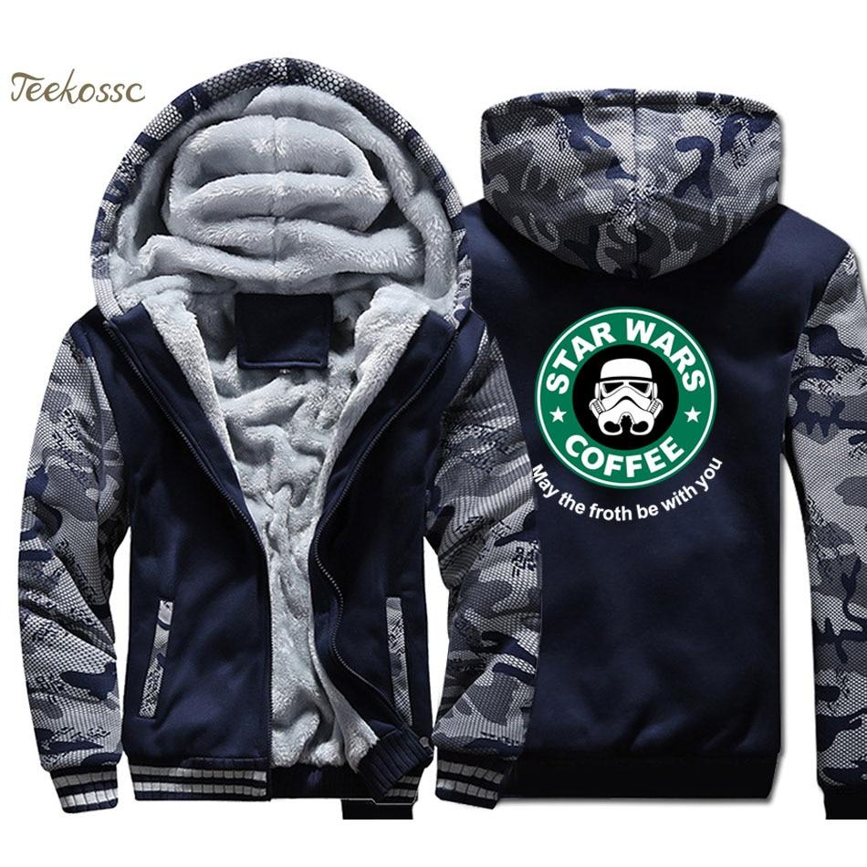 Star Wars Hoodie Men Cool Hooded Sweatshirt Coat 2018 Brand Thick Fleece Warm Camouflage Join The Empre Jacket Brand Clothing
