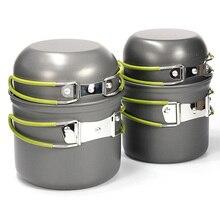 Hot Outdoor Tableware Hiking Camping Cooking Picnic Non-Stick Aluminum Cookware Set Pot Bowl 4pcs/2Pcs