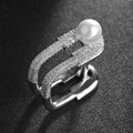 New Fashion Silver Ring Paperclip Simulated Pearl Jewelry Emed Square Ring Full Set Zircon Crystal Ring For Women Jewelry Gift