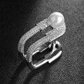 Nuevo Anillo de Plata de La Manera Clip Simulado Pearl Jewelry Emed Anillo Cuadrado Conjunto Completo Anillo de Cristal de Circón Para Las Mujeres Regalo de La Joyería