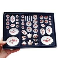 1:12 Dollhouse miniature Ceramic Tea sets furniture toy for dolls mini kitchen tableware pretend play toys for children girls