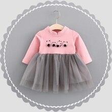 Automne Infantile Bébé de Bande Dessinée Ours Patchwork Maille À Manches Longues Princesse Partie Plissée Tutu Filles Enfants Robe robe infantil
