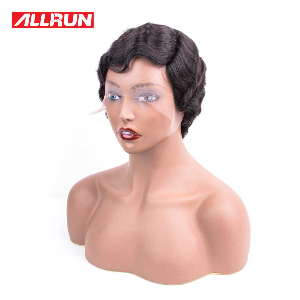 Allrun волны океана боковая часть кружева фронта человеческих волос парики Боба женщины естественные ухо к уху бразильские Remy человеческих волос парик фронта шнурка