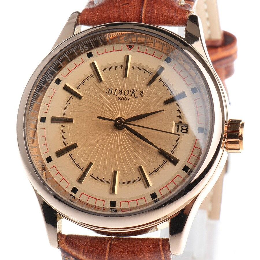 2016 NEW BIAOKA watch Brown glass calendar Leather Strap waterproof men s automatic mechanical watch Date