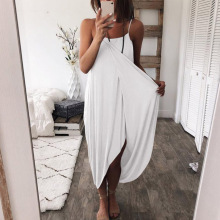 Summer new womens loose dress sexy solid color knitted irregular fashion casual strap