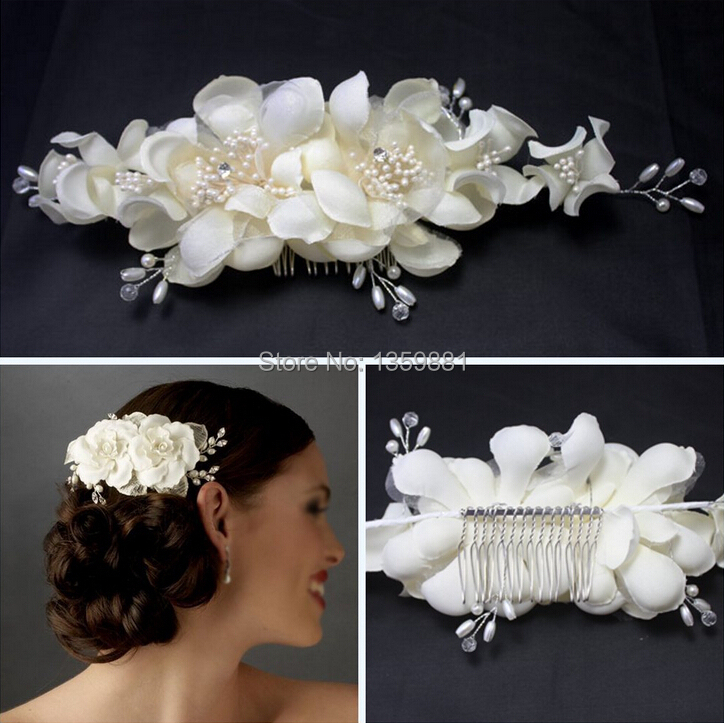 bridal hair accessories pearl fabric flower wedding hair clip hair comb tiara in hair jewelry from jewelry accessories on aliexpress com alibaba group