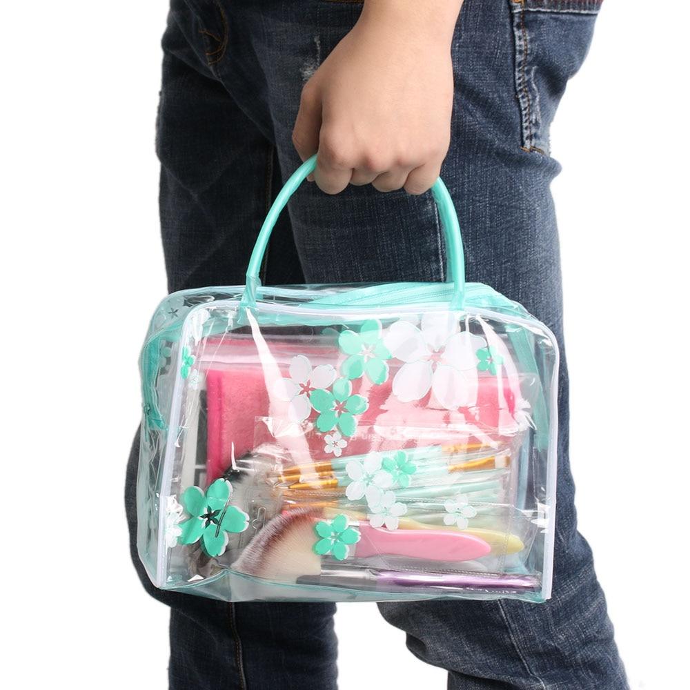 PVC Waterproof Cosmetic Bag Women Transparent Flower Printed Portable Travel Organizer Toiletry Bag Bath Wash Make Up Bag