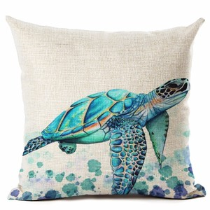 Image 5 - Watercolor Painting Ocean Cushion Cover Mediterranean Blue Sea Turtle Printed Linen Decorative Pillows Case Office Sofa Chiar
