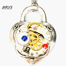 steampunk gothic lock mechanical watch parts gear heart necklace rhinestone pendant choker chain women girl vintage gift jewelry