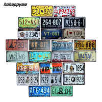 Shabby Car Number License Plate Vintage Metal Signs Plate Plaque Poster Bar Club Wall Tavern Garage Home Decoration 15*30cm