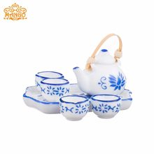 1:12 Dollhouse Miniature Tableware Porcelain blue cups 6 pcs(China)