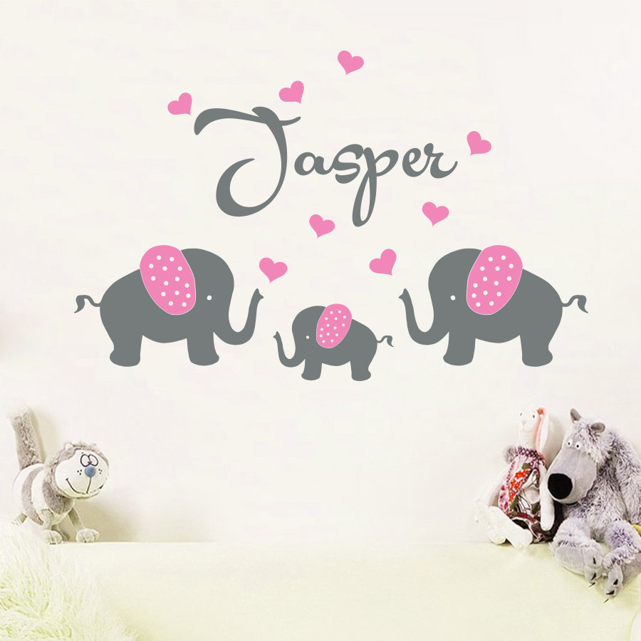 Buy personalised custom name 3 elephants for Stickers pared bebe