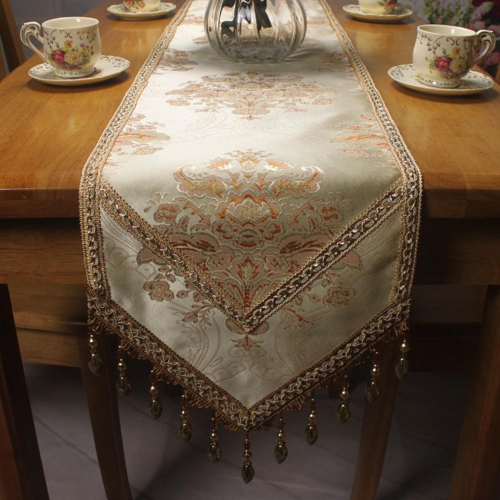 Light Yellow Handmade Jacquard Luxury Table Runner for