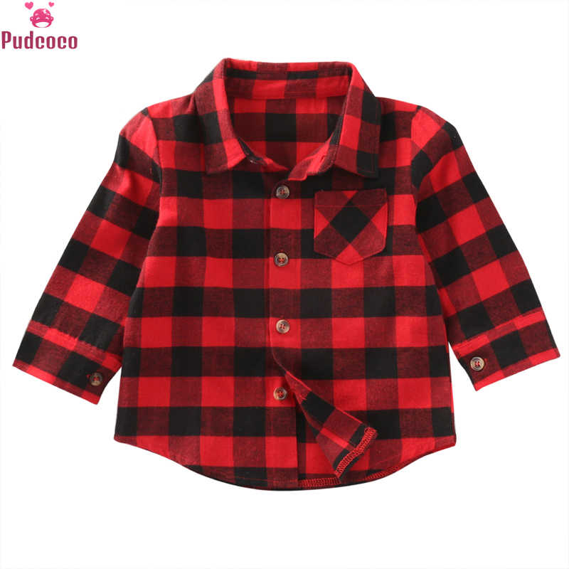 New Red Shirt For Baby Boys Cotton Shirt Kids Long Sleeve Red Plaid Blouse Baby Boys Pocket Tops Shirt Turn Down Collar