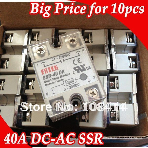 10PCS/Lot BIG PRICE for 40A FOTEK Solid State Relay SSR with Protective Flag normally open single phase solid state relay ssr mgr 1 d48120 120a control dc ac 24 480v