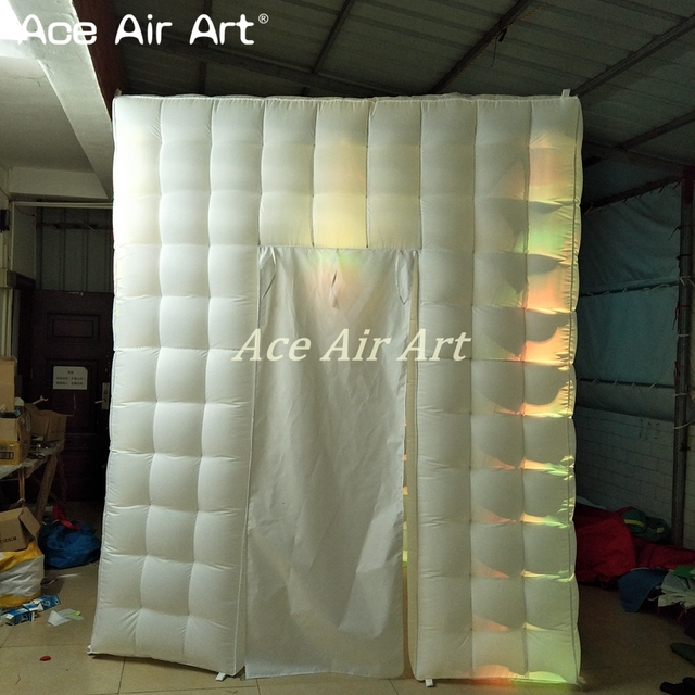 2.75 m H cabinet inflatable photo booth/led lighting tent with 5 W spotlights and curtain door sticker window for Lawn Party