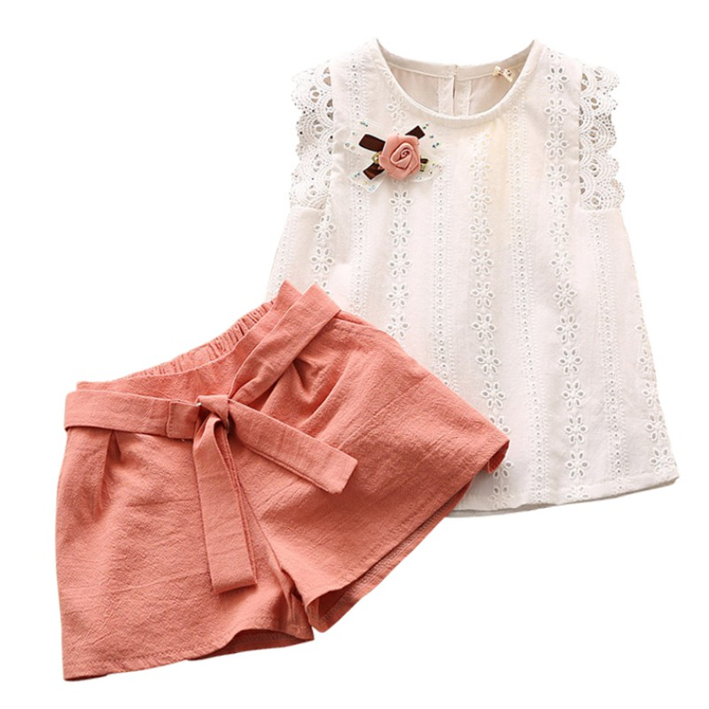 Summer Girls Clothing Set Child Sleeveless Floral T-shirt Top + Solid Color Shorts 2PCS Fashion Cotton Baby Girl Clothes Set