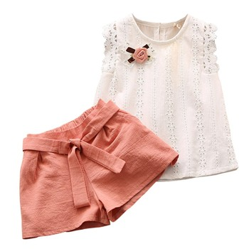 Summer Girls Clothing Set Child Sleeveless Floral T-shirt Top + Solid Color Shorts 2PCS Fashion Cotton Baby Girl Clothes Set children s clothing female child set summer 2016 girl summer shorts t shirt 100