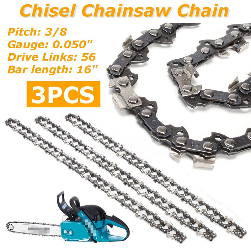 3pcs 16 3/8 LP 0.050 56DL Bar Chainsaw Chain Semi Chisel for Makita DC UC NB3pcs 16 3/8 LP 0.050 56DL Bar Chainsaw Chain Semi Chisel for Makita DC UC NB