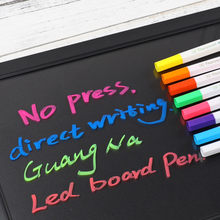 Painel de led para escrita, 8 cores para pintura de janela de vidro uso escolar kawaii ponta de formal iluminador líquido canetas,