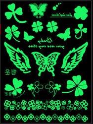 Светиться в темноте мода логотип знак Символ татуировки Стикеры зеленый Водонепроницаемый одно время смешные элементы татуировки Стикеры