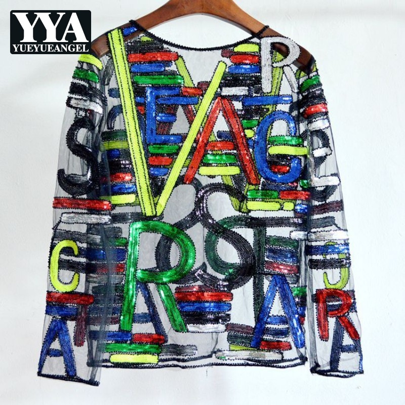 Mode Streetwear Manches Longues Dentelle T-Shirts Femmes Lettre Impression Sexy Maille O-cou Harajuku T-Shirts Paillettes Perles hauts Dames
