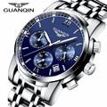 Relógio de quartzo de aço dos homens autênticos da marca GUANQIN noctilucentes à prova d' água relógio do esporte da forma relógios de pulso relogio masculino 2016