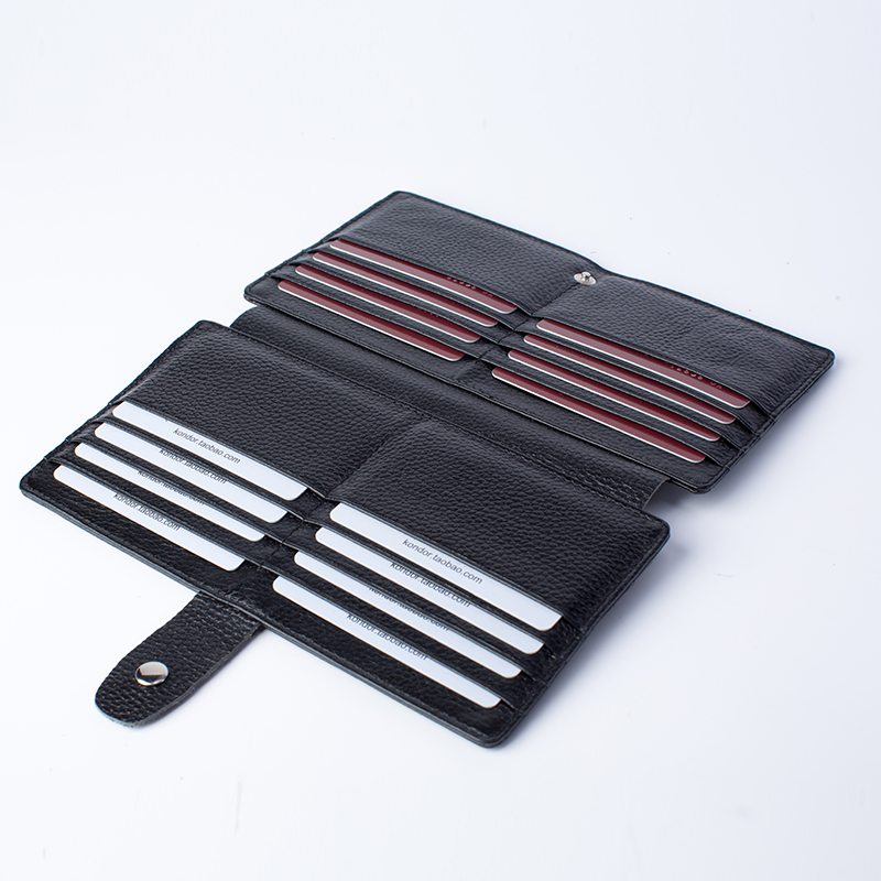 Long card holder top layer cow leather double sides 32 cards package soft bank credit card