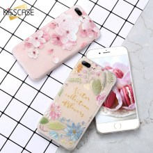 KISSCASE Fashion Phone Case For iPhone 6 6s 7 Plus 3D Vintage Relief Floral Silicone Soft TUP Shell