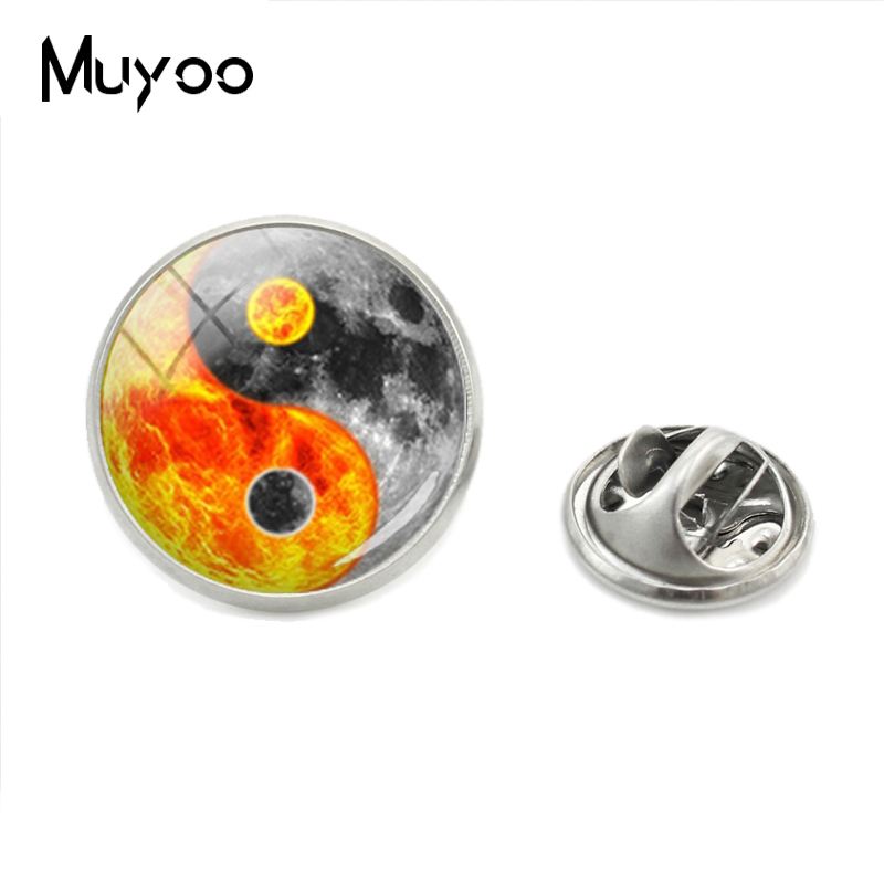 New Fashion Lapel Pin Vintage <font><b>Ying</b></font> <font><b>Yang</b></font> Bagua <font><b>Collar</b></font> Pin Cabochon Crystal Jewelry Pins Gift for Men image
