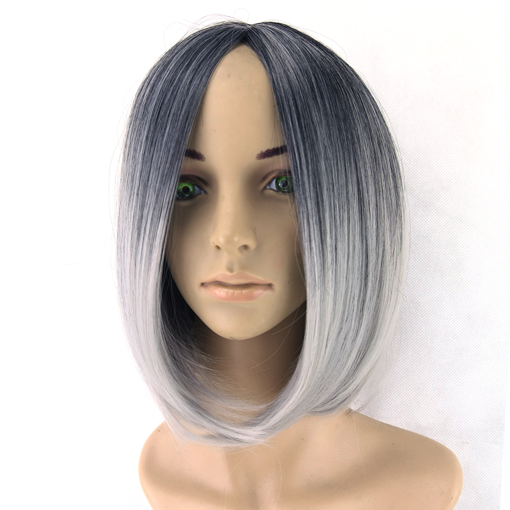 soowee Official Store Omber Wig Grey Wig Black To Gray Short Women Hair Wigs Synthetic Heat Resistant Hair Cosplay Wig