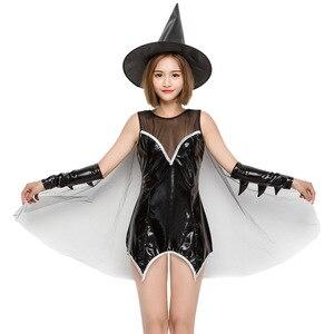 Image 5 - VASHEJIANG Couro Sexy Traje Da Bruxa para As Mulheres Adultas Halloween Sexy Lace Magia Bruxa do Vôo Uniforme Cosplay Traje Engraçado