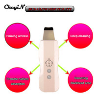 CkeyiN Rechargeable Ultrasonic Skin Scrubber Acne Spot Removal Eliminate Wrinkles Skin RelaxationTool Facial Cleaner Massager