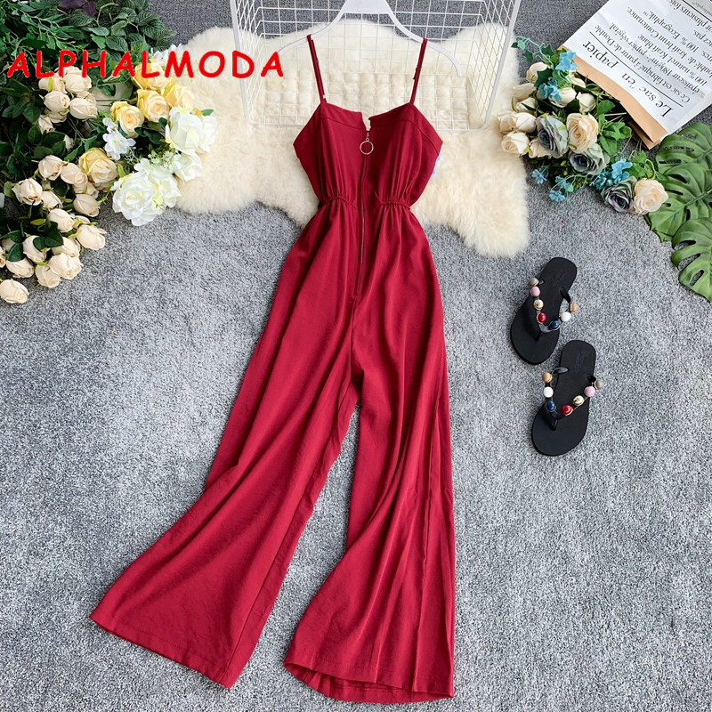 ALPHALMODA 2019 Summer Zipper Slim Jumpsuit Women Casual Stylish Outfit Solid Color Slim High Waist Ladies Holiday   Rompers
