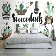 Nordic Style 3D Wallpapers Custom Photo Green Cactus Murals Kids Room for Living Room Sofa TV Background Wall Papers Home Decor cartoon animals children wallpapers 3d murals custom photo wallpapers for living room bedroom wall papers home decor kids room