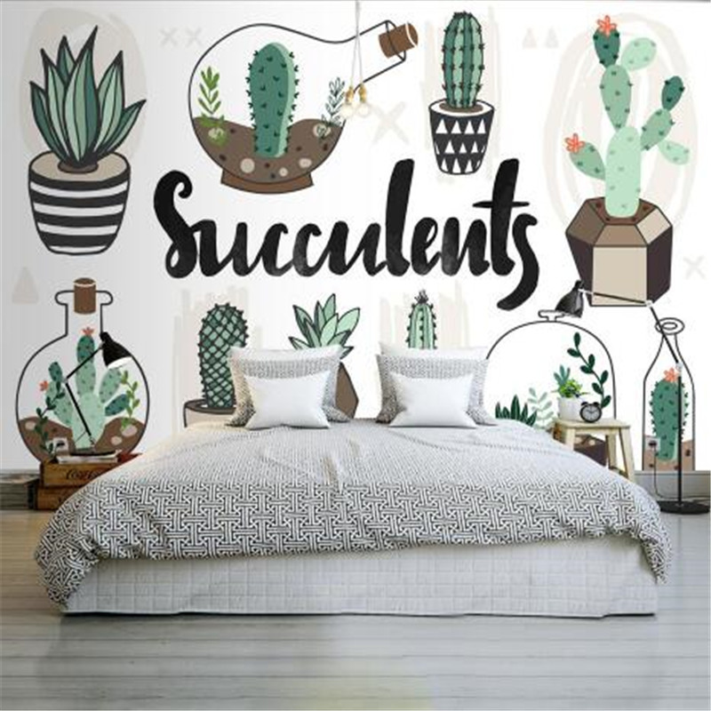 Nordic Style 3D White Wallpapers Custom Photo Green Cactus Murals Kids Room Walls Papers for Living Room Background Home Decor custom large 3d wallpapers cartoon dog cat animals murals kids walls papers for children room living room home decor painting