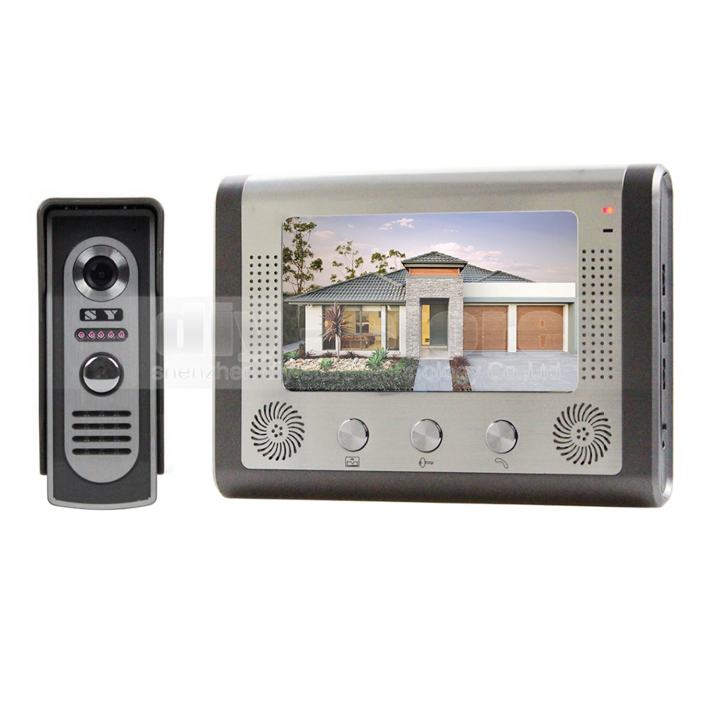 Diysecur 7 inch wired video door phone door bell system for Door intercom
