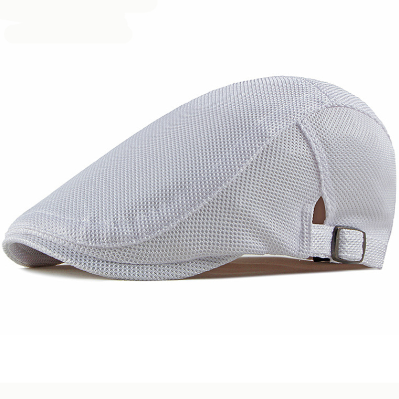 HT2475 Berets Mesh Cap Breathable Summer Sun Hat Men Women Solid Cabbie Driver Newsboy Flat Cap Beret Hats Adjustable Beret Cap(China)