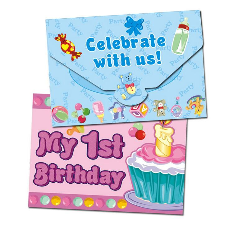 1st Birthday Invitation Card For Little Girl Or Boys 1 Year Old Party Suppliers Pink Blue Decoration 12pcs Lot